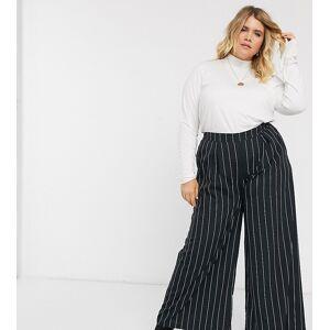 Verona Curve full wide leg trousers in pin stripe-Black  - female - Black - Size: 28