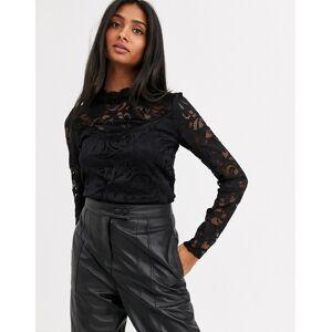 Vila long sleeve lace top-Black