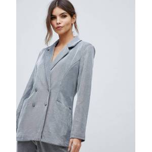 Y.A.S metallic double breasted blazer-Silver