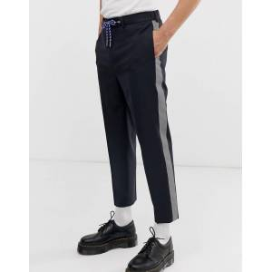 ASOS DESIGN tapered smart trousers in 100% wool with techy tape side tape-Navy