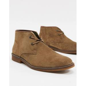 Barbour Kalahari suede mid desert boots in stone  - male - Stone - Size: 9