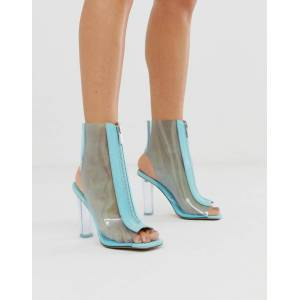 ASOS DESIGN Energise clear heeled boots-Blue