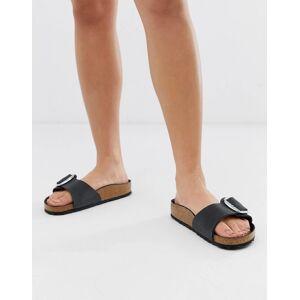 Birkenstock big buckle Madrid leather sandals-Black  - female - Black - Size: 37