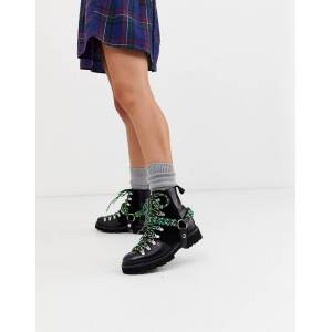 House Of Holland X Grenson solid black and lime nanette leather biker boots