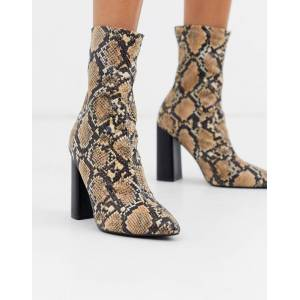 Public Desire Libby heeled ankle boot in natural snake-Beige  - female - Beige - Size: 7