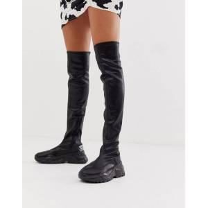 Versace Jeans Couture logo sock boots-Black