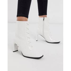 Z_Code_Z Taja lace up heeled ankle boot in white croc  - female - White - Size: 6