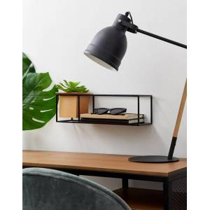 Umbra black wall shelf with planter-Multi