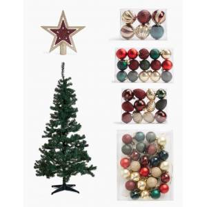 Marks & Spencer 6ft Christmas Tree Bundle - Red Mix