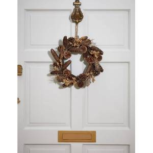 Marks & Spencer 13inch Golden Pinecone Wreath - Gold