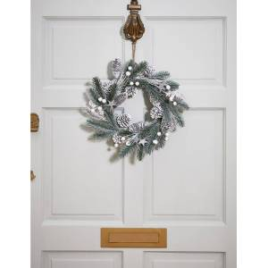 Marks & Spencer 13inch Frosted Wreath - White Mix