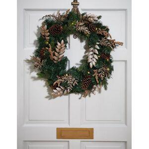 Marks & Spencer 24inch Pre Lit Golden Wreath - Gold Mix