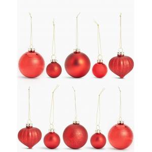 Marks & Spencer 20 Pack Red Mix Glass Baubles - Red Mix