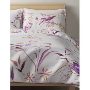 Marks & Spencer Pure Cotton Sateen Japanese Floral Print & Embroidered Bedding Set - Sun Gold