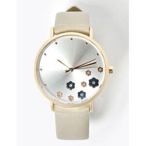 Marks & Spencer Scatter Flower Round Face Watch - Cream Mix