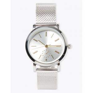 Marks & Spencer Round Face Mesh Watch - Silver Mix