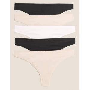 Marks & Spencer 5 Pack No VPL Microfibre Low Rise Thongs - Black  - unisex - Black - Méid: 24