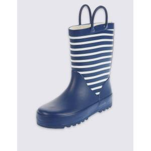 Marks & Spencer Kids' Striped Wellies (5 Small - 12 Small) - Navy