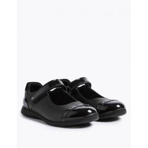 Marks & Spencer Kids' Leather Diamante' School Shoes (8 Small - 1 Large) - Black