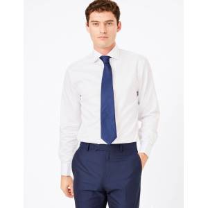 Marks & Spencer Regular Fit Checked Easy to Iron Shirt - White Mix