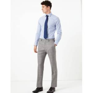 Marks & Spencer Grey Checked Tailored Fit Wool Trousers - Grey