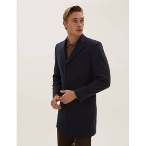 Marks & Spencer Cashmere Longline Coat - Navy