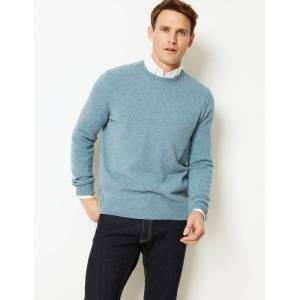 Marks & Spencer Pure Extra Fine Lambswool Crew Neck Jumper - Berry