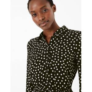 Marks & Spencer Polka Dot Collared Blouse - Black Mix
