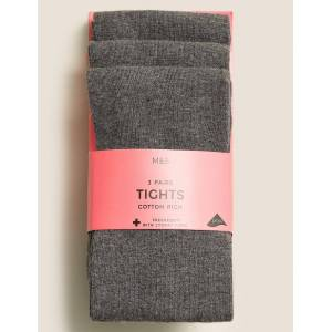 Marks & Spencer 3 Pairs of School Tights (2-14 Years) - Grey