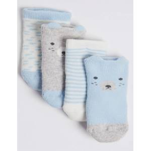 Marks & Spencer 4 Pairs of Bear Terry Baby Socks - Light Blue Mix