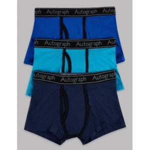 Marks & Spencer 3 Pack Cotton with Lycra® Trunks (4-16 Years) - Blue Mix