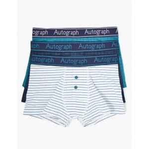 Marks & Spencer 3 Pack Cotton with Lycra® Grid Checked Trunks (6-16 Years) - Blue Mix