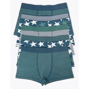 Marks & Spencer 5 Pack Star Print & Striped Trunks (18 Months - 16 Years) - Dark Blue Mix