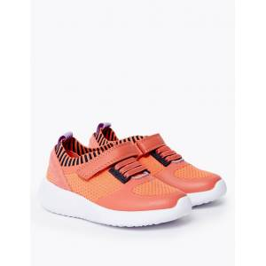 Marks & Spencer Kids' Light As Air™ Knitted Riptape Trainers (5 Small - 12 Small) - Coral Mix