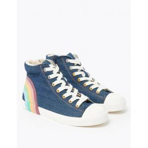 Marks & Spencer Kids's Denim Rainbow High-Top Trainers (13 Small - 6 Large) - Denim Mix