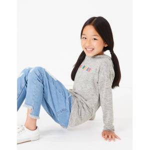 Marks & Spencer Embroidered Forever Slogan Hoodie (3-16 Years) - Jade