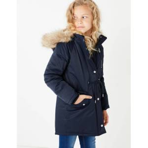 Marks & Spencer Stormwear™ Hooded Faux Fur Trim Parka (3-16 Years) - Navy