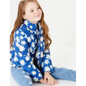Marks & Spencer Floral Padded Coat (6-16 Years) - Blue Mix