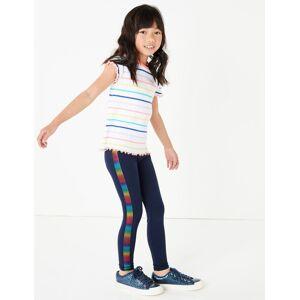 Marks & Spencer Rainbow Side Tape Leggings (3-16 Years) - Navy