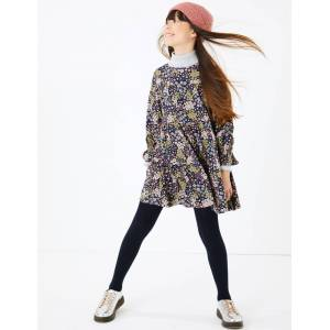 Marks & Spencer Tiered Floral Dress (3-16 Years) - Navy Mix