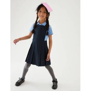 Marks & Spencer Girls' Permanent Pleats Pinafore - Grey