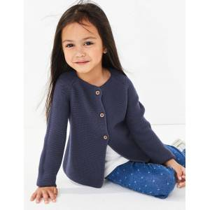 Marks & Spencer Pure Cotton Chunky Cardigan (3 Months - 7 Years) - Navy
