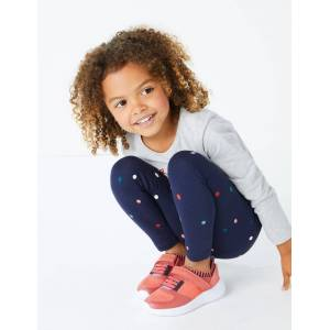 Marks & Spencer Cotton Spot Print Leggings (3 Months - 7 Years) - Navy Mix