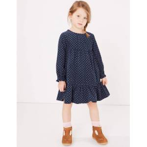 Marks & Spencer Pure Cotton Cord Spot Print Dress (3 Months - 7 Years) - Navy Mix