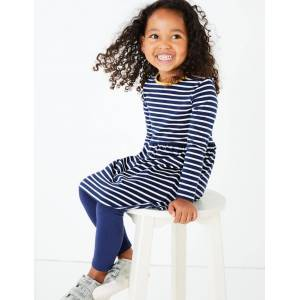Marks & Spencer Pure Cotton Nautical Striped Dress (3 Months - 7 Years) - Navy Mix