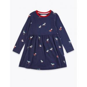 Marks & Spencer Cotton Rich Unicorn Print Dress (3 Months - 7 Years) - Navy Mix