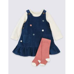 Marks & Spencer 3 Piece Cotton Polka Dot Outfit - Navy