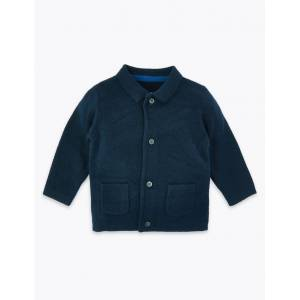 Marks & Spencer Cotton Knitted Cardigan - Navy