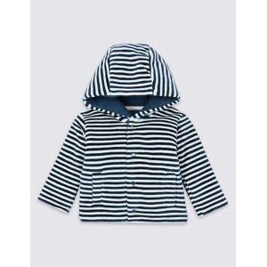 Marks & Spencer Cotton Rich Striped Velour Jacket - Navy Mix