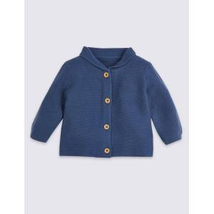 Marks & Spencer Pure Cotton Knitted Cardigan - Dark Blue